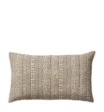 Pattani Geometric Cushion Cover (60x35cm) - Onyx