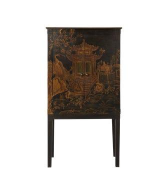 Peking Handpainted Chinoiserie TV Cabinet - Black