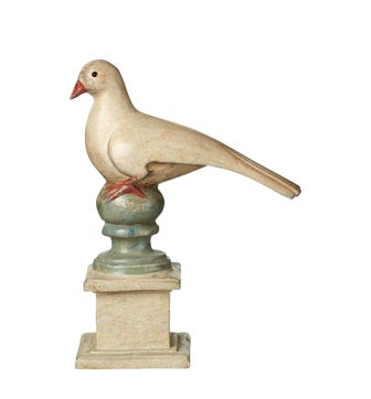 Perched Bird Ornament - Distressed White