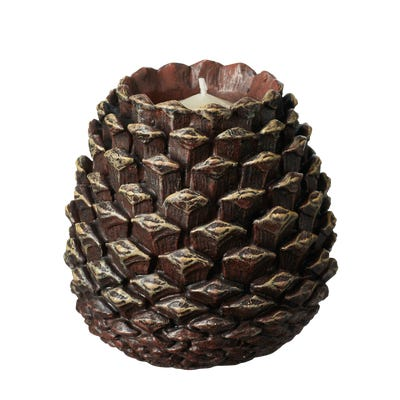 Pinecone Candle Holder - Brown