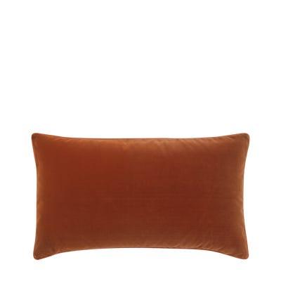Plain Velvet Cushion Cover (60x35cm) - Dirty Orange
