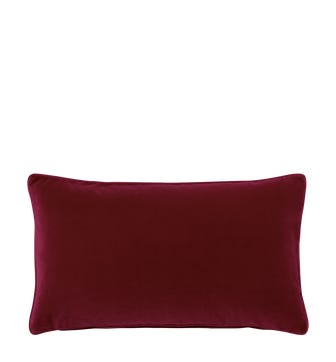 Plain Velvet Cushion Cover (60x35cm) - Grenache