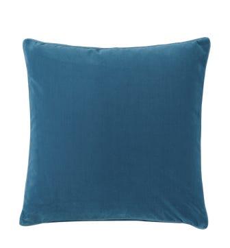 Plain Velvet Cushion Cover, Large - Sea Blue