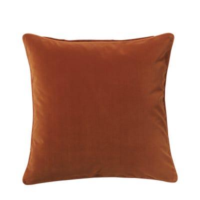 Plain Velvet Cushion Cover, Large - Dirty Orange