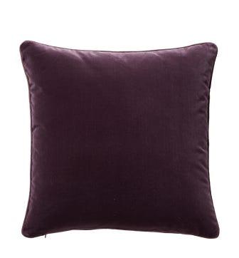 Plain Velvet Cushion Cover, Large - Aubergine