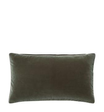 Plain Velvet Cushion Cover, Small - Grey Green