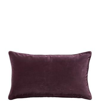 Plain Velvet Cushion Cover, Small - Aubergine