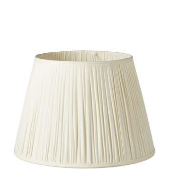 Pleated Linen Lampshade & Carrier (45) - Ecru