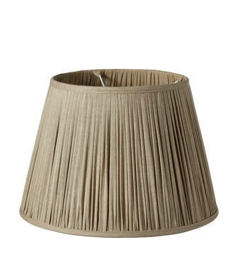 Pleated Linen Lampshade & Carrier (45) - Natural