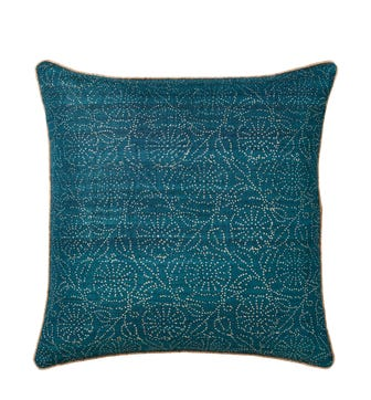 Pointillism Floral Cushion Cover - Teal