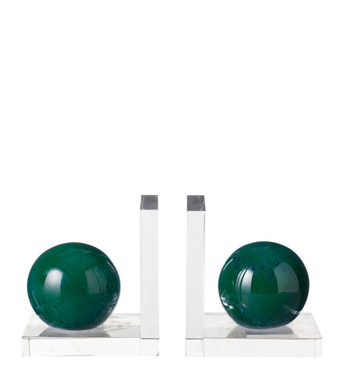 Polished Emerald Glass Ball Bookends - Green