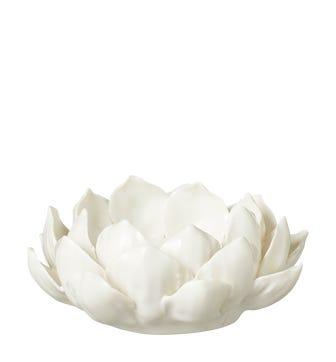 Porcelain Artichoke Candle Holder - White