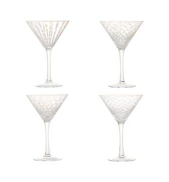 Set of Four Pulcinella Cocktail Glasses - White