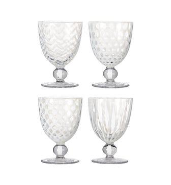 Set of Four Small Pulcinella Wine Glasses - White
