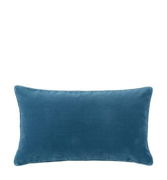 Plain Velvet Cushion Cover, Small - Sea Blue