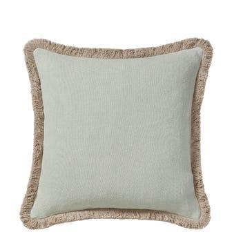 Stonewashed Linen Cushion Cover With Fringing (51cmSq) - Eau de Nil