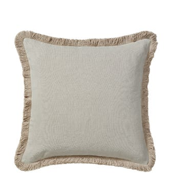 Stonewashed Linen Cushion Cover With Fringing (51cmSq) - Natural