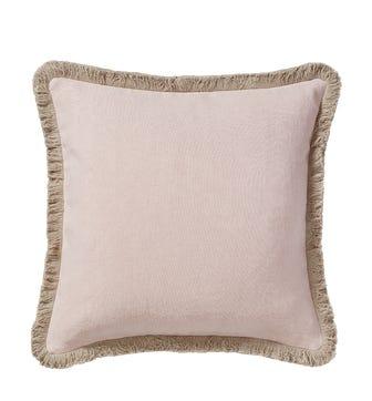 Stonewashed Linen Cushion Cover With Fringing (51cmSq ) - Dusty Rose