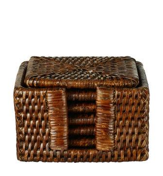 Rattan Coasters Set of 6 - Brown