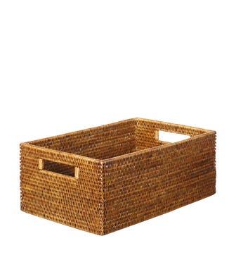 Rattan Low Delta Storage Box, Small