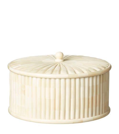 Round Bone Box With Lid - Ivory White
