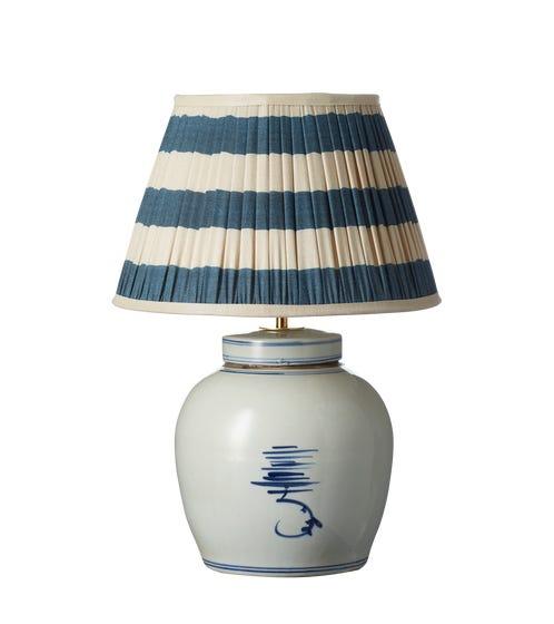 Ruheng Ceramic Table Lamp - White/Blue