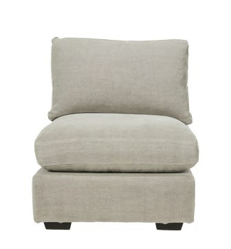Savile Armless Chair Loose Cover - Washed Grey