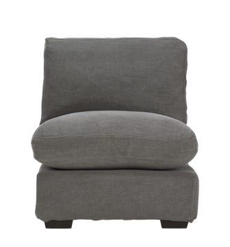 Savile Linen Armless Sofa Chair - Charcoal