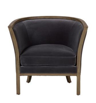 Selene Velvet Armchair - Charcoal