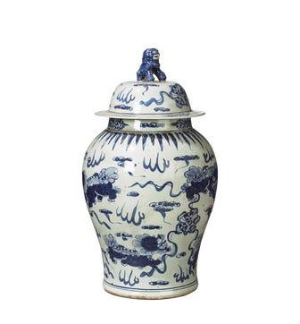 Shenlong Lidded Jar - White/Blue