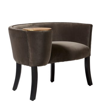 Sherzad Chair With Side Table - Truffle