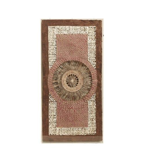 Shokki Framed Textile - Natural/Brown