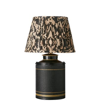 Small Camellia Hand-Painted Table Lamp - Black