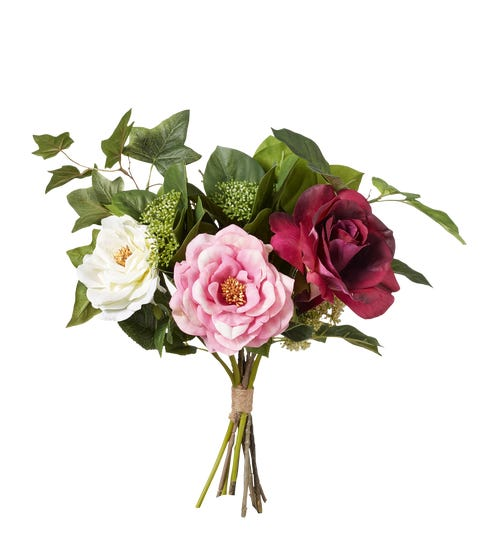 Small Faux Garden Rose & Ivy Bunch - Multi