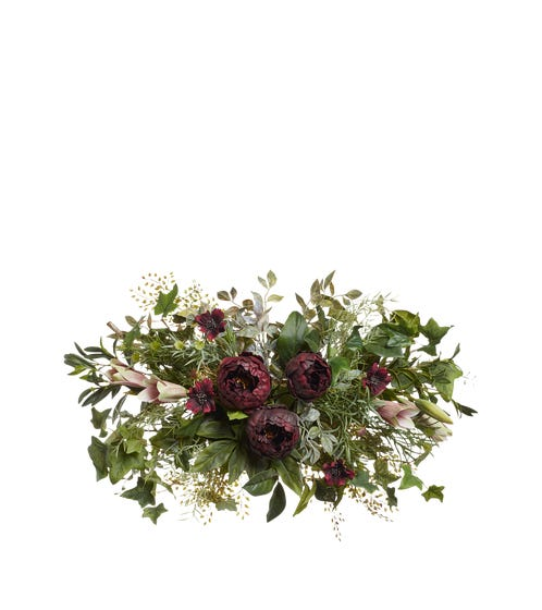 Small Faux Peony, Casa Blanca Lily, Ivy & Cosmos Garland