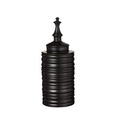 Sorin Lidded Jar Tall - Matt Black