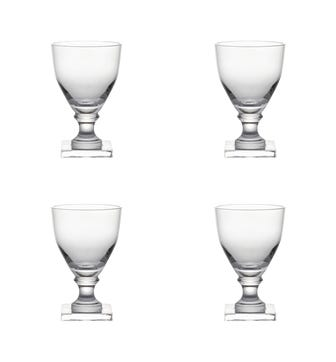 Square-Based Crystal Glasses Large, Set of 4 - Clear