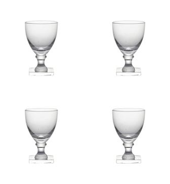 Square-Based Crystal Glasses Small, Set of 4 - Clear