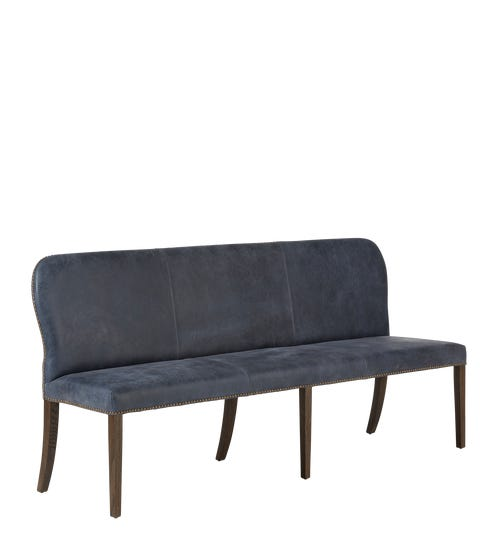Stafford Leather Dining Bench - Smoke Blue