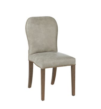 Stafford Leather Dining Chair - Ash Grey