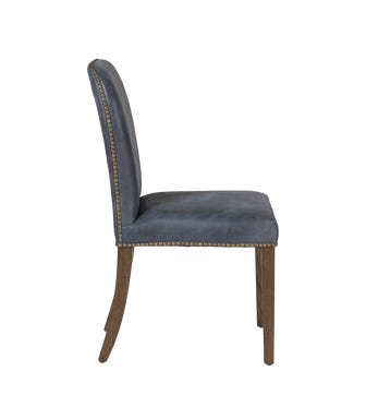 Stafford Leather Dining Chair - Smoke Blue