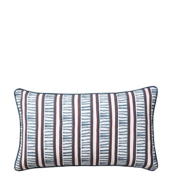 Stem Stripe Cushion Cover( 60x35cm) - Woad Blue/ Red