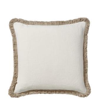 Stonewashed Linen Cushion Cover With Fringing - Off-White