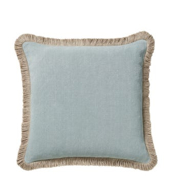 Stonewashed Linen Cushion Cover With Fringing - Aqua