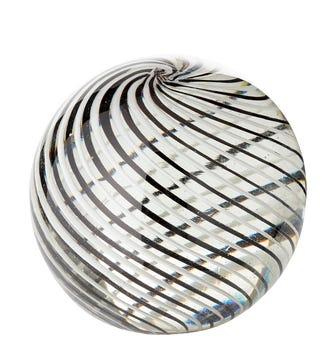 Swirled Glass Paperw8 - Black / White