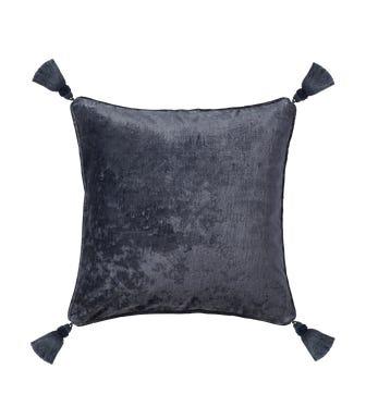 Textured Linen Velvet Cushion Cover with Tassels (56cmsq) - Slate