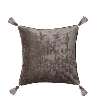 Textured Linen Velvet Cushion Cover with Tassels(56cmsq) - Smoke