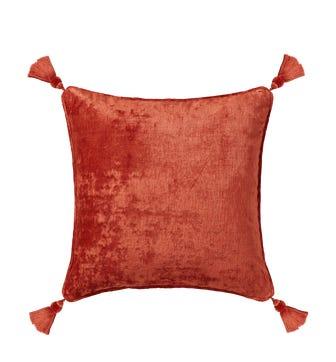 Textured Linen Velvet Cushion Cover with Tassels(56cmsq) - Burnt Cinnamon