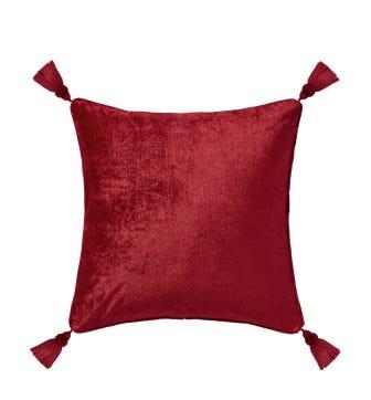 Textured Linen Velvet Cushion Cover with Tassels(56cmsq) - Rubellite
