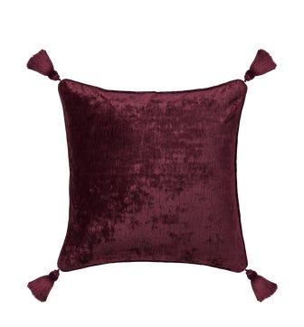 Textured Linen Velvet Pillow Cover with Tassels - Grape
